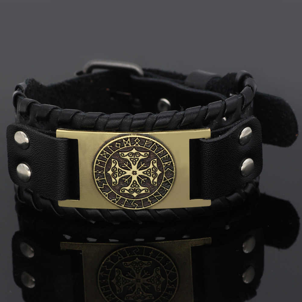 Nordic ไวกิ้ง odin สัญลักษณ์ knot rune หนัง amulet สร้อยข้อมือ Valknut ของขวัญกระเป๋า - ขนาด 19-25 ซม.