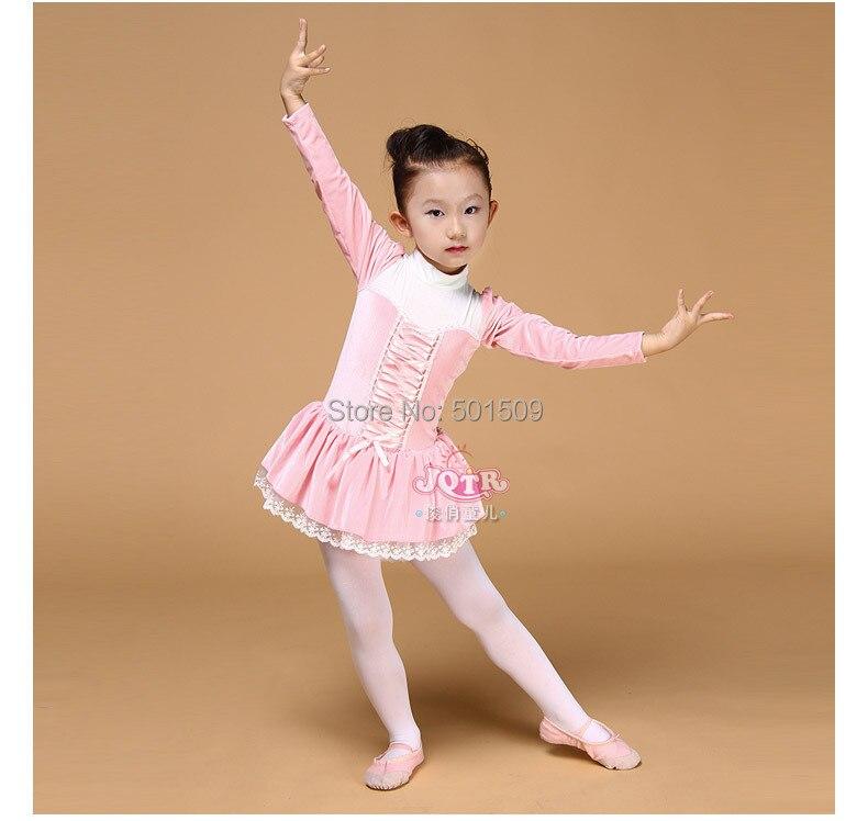 Livraison gratuite filles enfants velours à manches longues col rose ballet justaucorps princesse tutu robe conte de fées