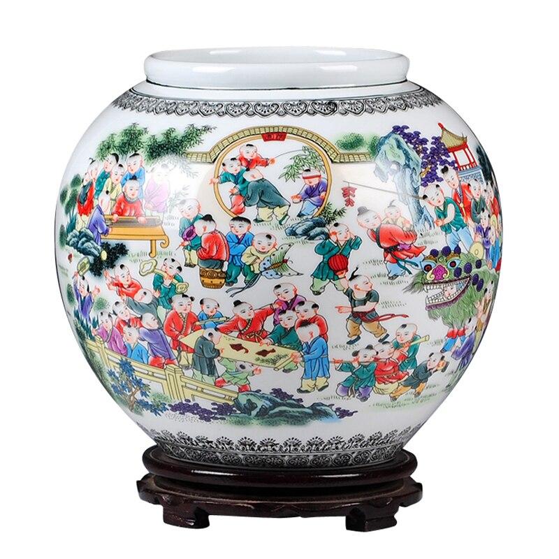Jingdezhen Céramique Cent Enfants Jouer À Des Jeux Cylindre Vases Fleur Réceptacle Chinois artisanat Salon