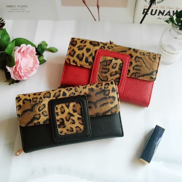 AFKOMST Leopard Women Wallet Long Luxury Solid Coin Purse Credit Card Holder High Quality Clutch Money Bag Walle VKP1524