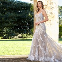 VNXIFM 2019 New Elegant Champagne Lace Wedding Dresses Mermaid Wedding Bridal Gown With Sheer Country Bridal Dress Court Train