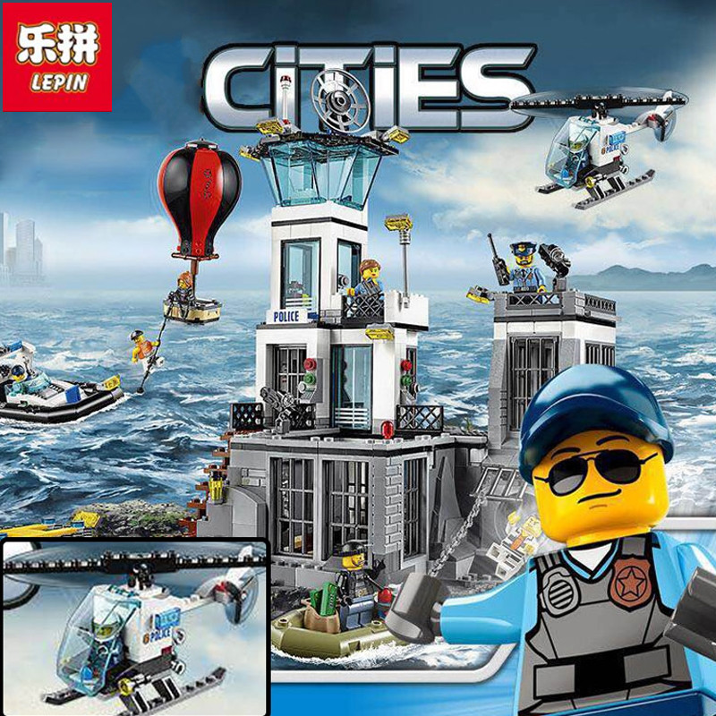 Lepin 02006 815Pcs City Series Prison island set Children Educational Building Blocks Bricks Boy Toys lepin 02006 815pcs city police series the prison island set building blocks bricks educational toys for children gift legoings