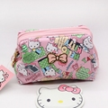 Free shipping cartoon make up bag hello kitty zipper cosmetic bag High quality PU cute toiletry bag