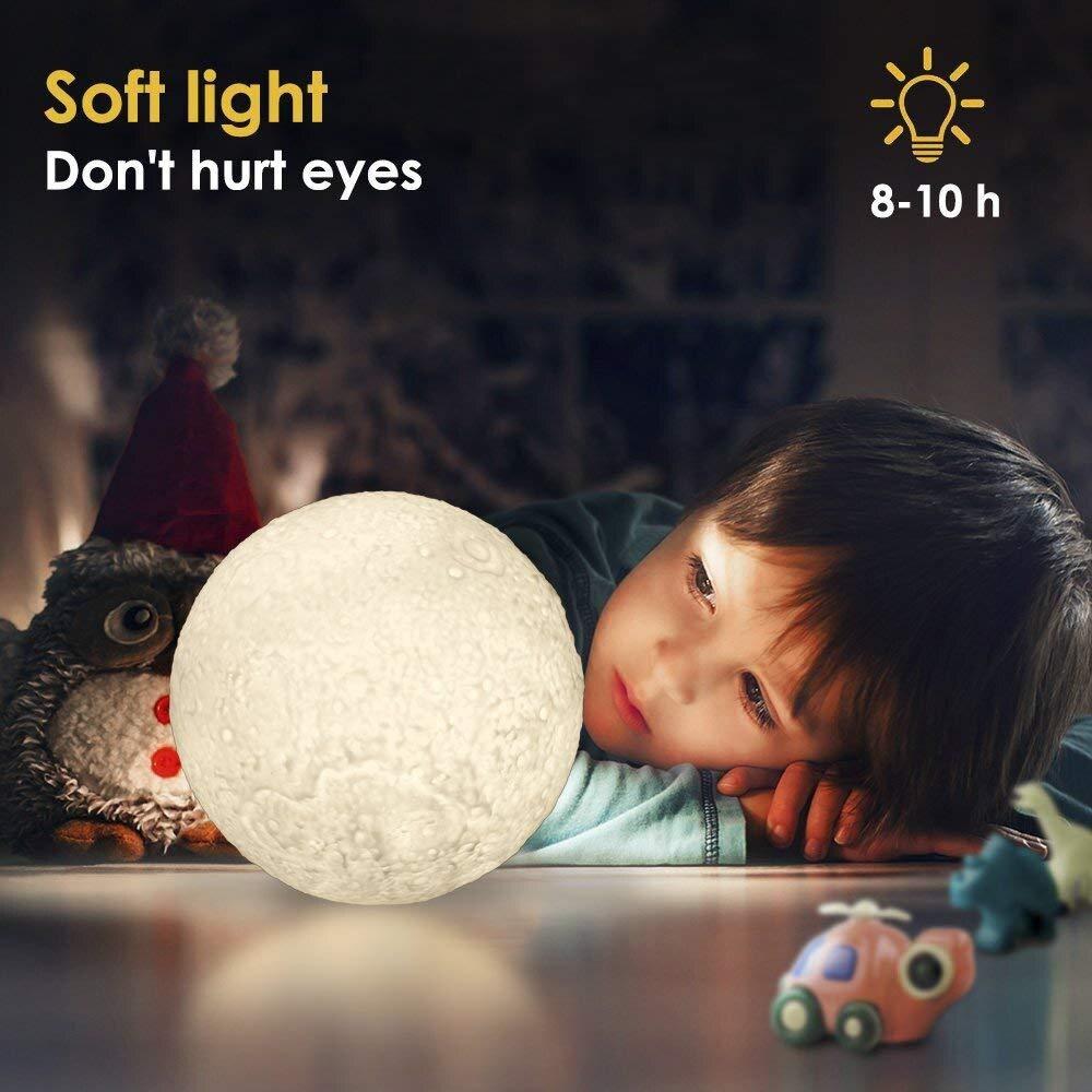 3D Print 16 Colors Change Remote Control Bedroom Lunar Moon light Home Decor Kid Gift Novelty LED Night Light Moon Lamp Child