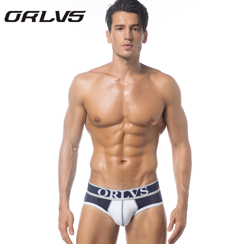 ORLVS Brand Men Underwear Male Sexy Briefs Cotton Fabric Hollow Design Mesh Quick Dry Breathable Panties Gay Underpants