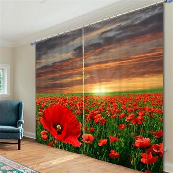 Colorful Daisy Tulip Poppy Lily Flowers 3D Printed Window Art Curtains Blackout Polyester Drapes for Bedroom or Living Room