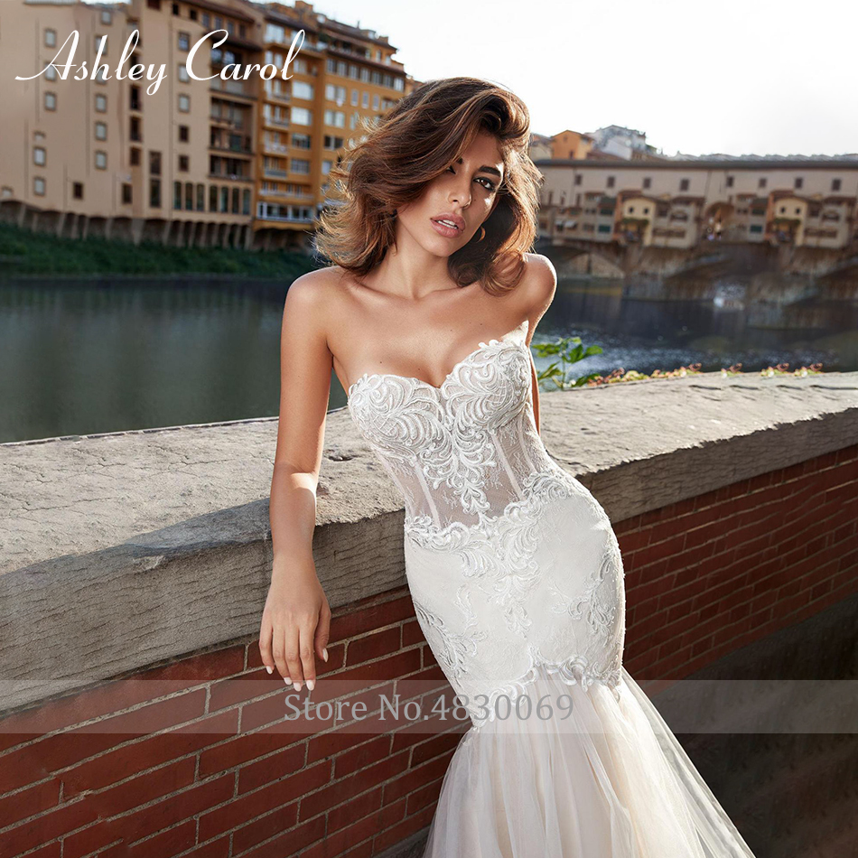 Image 3 - Ashley Carol Sexy Sweetheart Strapless Lace Mermaid Wedding Dress 2019 Romantic Court Train Appliques Backless Wedding GownsWedding Dresses   -
