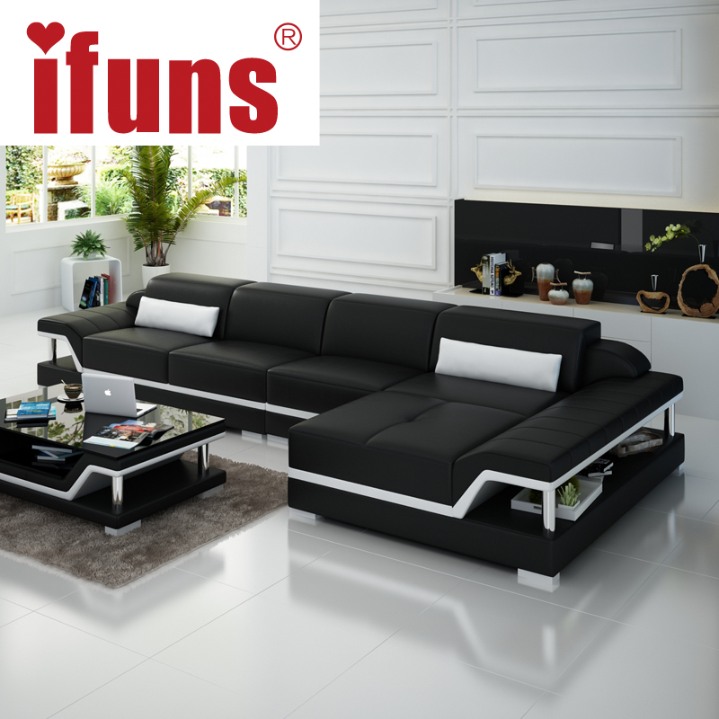 Ordinaire IFUNS Chaise Sofa Set Living Home Furniture Modern Design Genuine Leather  Sectional Sofa L Shape Corner China Exprot In Living Room Sofas From  Furniture On ...