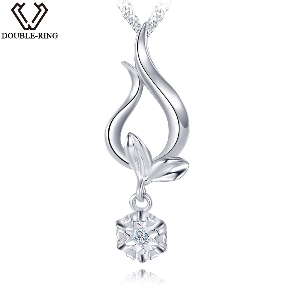 DOUBLE-R Women Natural Diamant Pendants 0.01ct Diamond Plant 925 Sterling Silver Pendant Necklace Classic Gift Diamond Jewelry double r women necklace pendants 0 03ct diamond 925 sterling silver pendants with long chains diamond jewelry cap03755sa 1