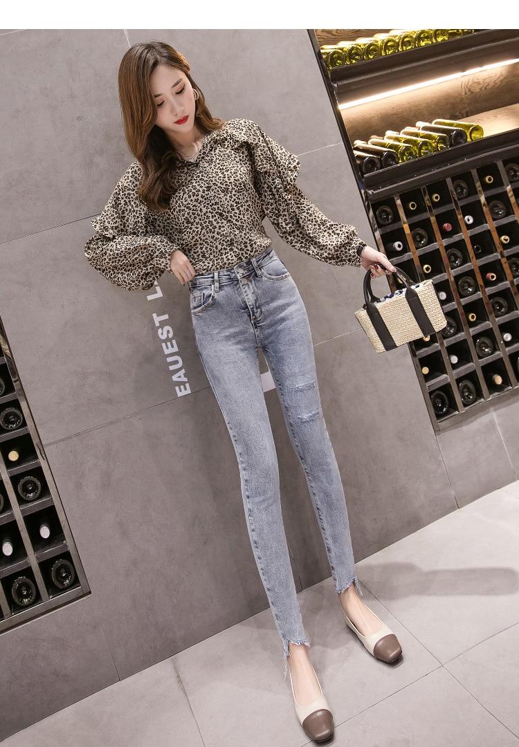 Trousers Women Spring 2019 New Broken Jeans Chic High Waist Slim Slim Irregular Leg Pants Pencil Pants