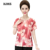 XJXKS Short Sleeve Women Blouse Top 2019 Summer New Casual Round Neck Printing Gradient Large Size Woman Blouse Tops