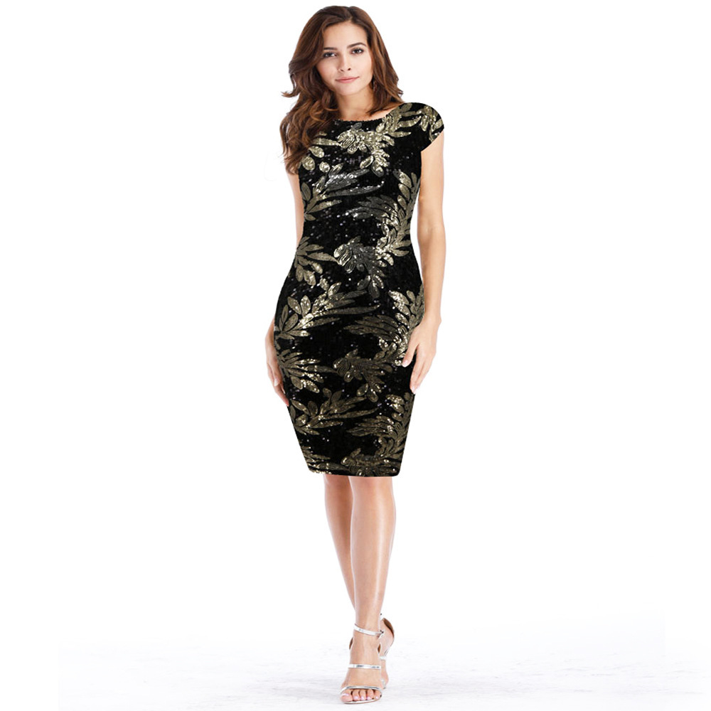 Short Sequins Cocktail Dresses Red Black New Arrival Sexy V-Back Party Gown Bodycon Vestido Coctel Corto