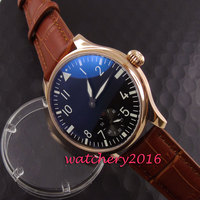 Simple 44mm Parnis black dial white numbers rose golden steel case 17 jewels 6498 hand winding movement Men's Watch