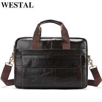 a4a1f15a2f49 WESTAL 14 дюймов Сумка для ноутбука для мужчин сумки-мессенджеры из натуральной  кожи мужские портфели для мужчин ts рабочие сумки мужские портфе.