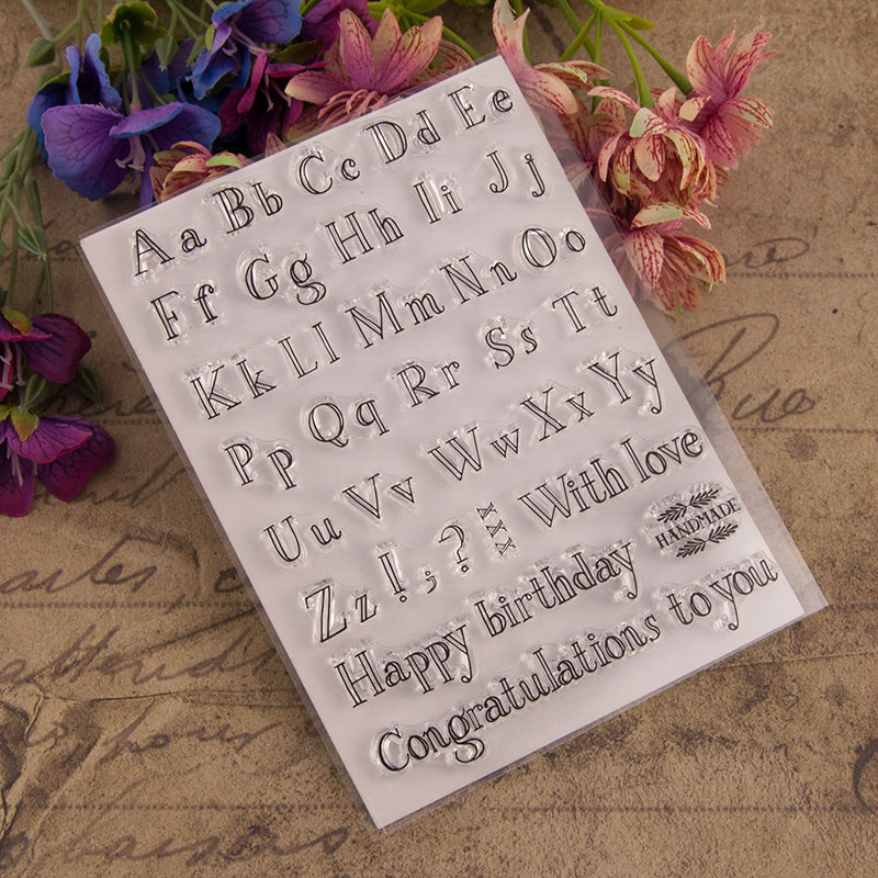 Happy Birthday Letters Clear Stamps for Scrapbooking DIY Silicone Seals Photo Album Embossing Folder Paper Maker Template Decor in Stamps from Home Garden