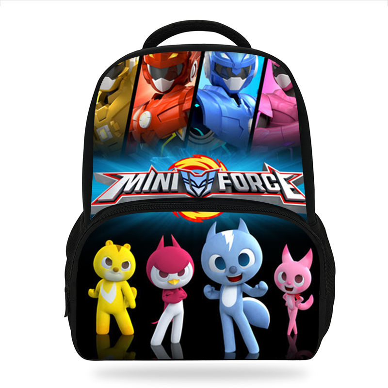 New Cartoon Miniforce Design Backpack Character Cute Pattern Kids Book Bags Boys&Girls School Backpacks Kindergarten Bag 3D