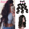 Malaysian Body Wave Virgin Human Hair 360 Lace Frontal Closure Bleached Knot Baby Hair Pre Plucked 360 Lace Frontal With Bundles