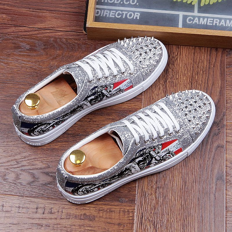 Fashion Men's Sneakers Studded Rivets Casual Black Round Toe Shoes Man Heavy Bottom Lace Up Male Flats Zapatos Hombre-in Men's Casual Shoes from Shoes on Aliexpress.com | Alibaba Group 26