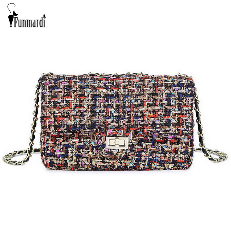 FUNMARDI New Luxury Woolen Crossbody Bag For Women Shoulder Bag Chain Brand Women Bag Messenger Quilted Small Bag Lady WLHB1805