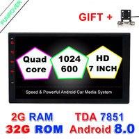Funrover 7 2 г 32 г авто радио 2 din Android 8,0 dvd плеер автомобиля Универсальный 4 ядра 2din gps навигация видео Wifi Bt стереосистемы RDS