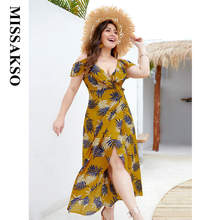 Missakso Sexy Beach Dress Summer Ruffles High Waist Clothes Deep V Neck Boho Vacation Split Midi Dresses Spring Plus Size 4XL(China)