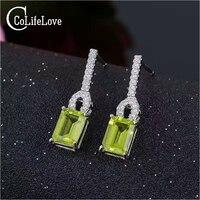 Fashion Silver Gemstone Drop Earrings Natural VVS Grade Peridot Earrings Solid 925 Sterling Silver Gemstone Earrings