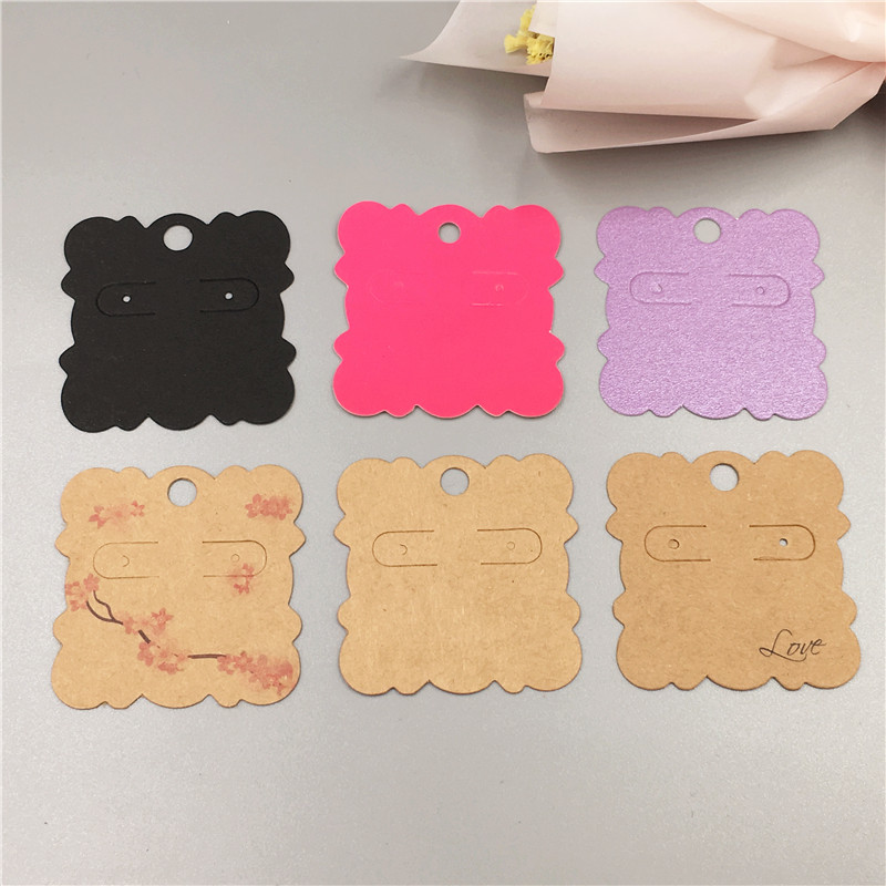 100Pcs/Lot Multi Style Kraft Paper Square Wave Shape Earring Card For Cute Stud Earrings Jewelry Packaging Displays Card 5x5cm