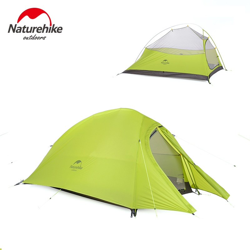 Naturehike 2 Person Waterproof Camping Tent Outdoot 20D Nylon Silicone 2 Man Ultralight Camp Tents Tente Gray Green Orange nh cloud outdoor single person camping tent anti rain 4seasons ultraportability 20d nylon silicone cated waterproof 8000mm