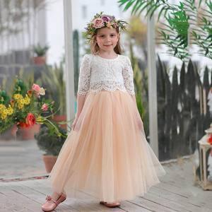 Image 5 - 2019 봄 여름 세트 여자 하프 슬리브 레이스 탑 + 샴페인 핑크 롱 스커트 아동복 0 10T E17121