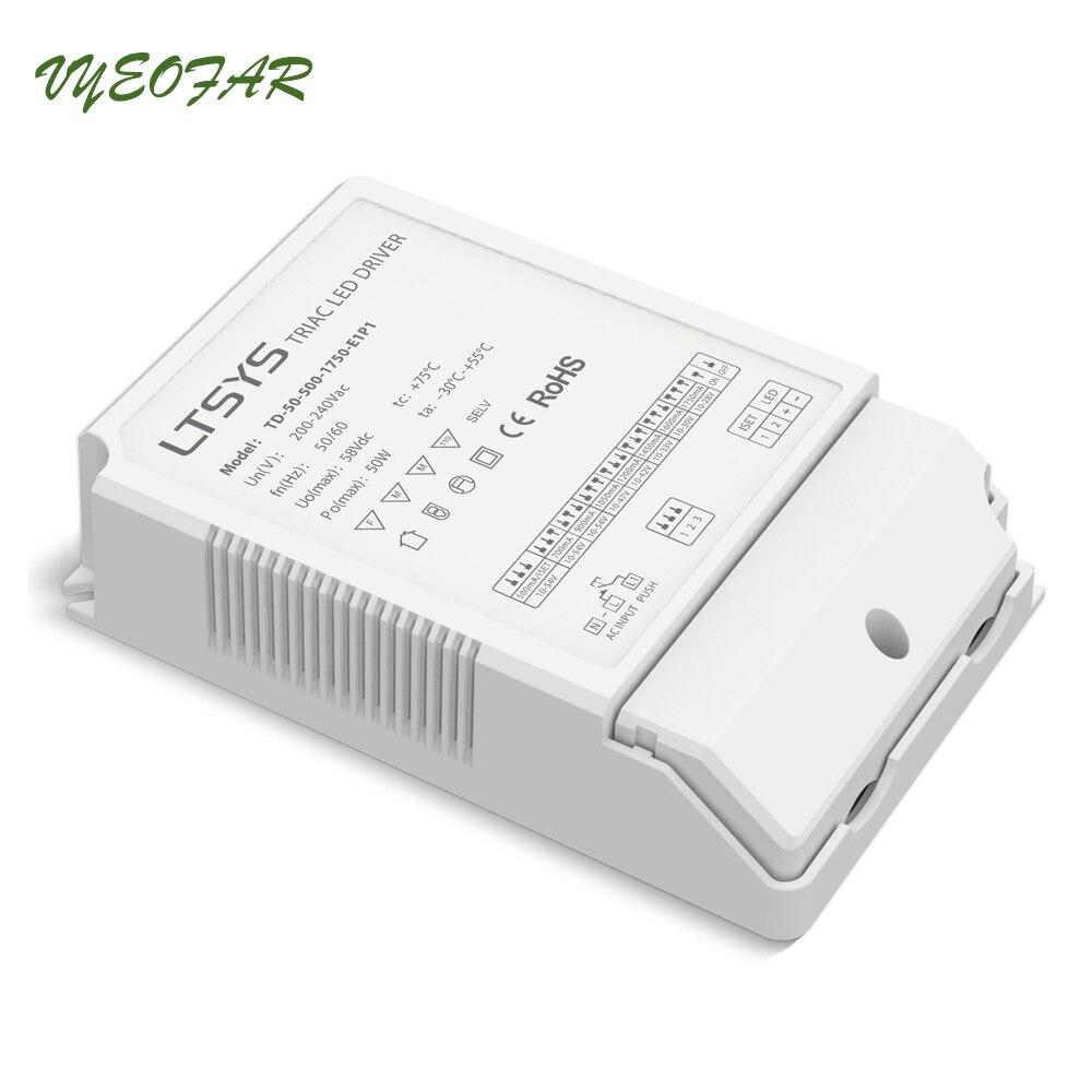 New LTECH TD-50-500-1750-E1P1;CC Constant Current Triac Dimming Driver;AC100-240V input;50W 500-1750mA output; Push DIM kvp 24200 td 24v 200w triac dimmable constant voltage led driver ac90 130v ac170 265v input