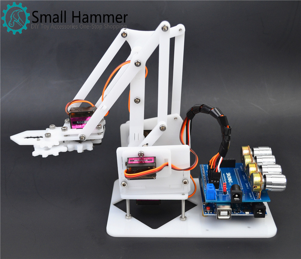 DIY robotic arm arduino learning kit Acrylic Maker Kit 4 DOF mg90s escam qp136 960p bulb wifi ip security camera 360 degree panoramic h 264 infrared indoor motion detection ip camera