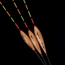 3Pcs/lot Lightweight Barr Wood Fishing Floats Bobbers Fishing Tackle Tools with Exquisite Storage Box