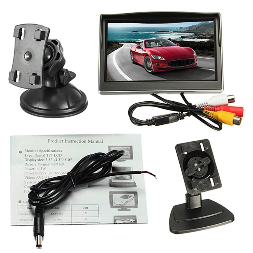 5Inch 800*480 TFT LCD Digital Color Screen Car Monitor With Sucker and Stand Car Accessories For Backup Rear View Camera