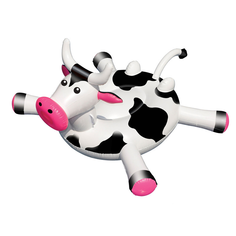 1.7M Cows Baby Pool Float for Kids Adult Float Raft Water Floating Boat Ride-On Swimming Ring Toy for Boys Girls Giant Cow Boats tortoise sunshade inflatable toy for baby kid play water bath outdoor toy swim ring pool toy summer ride on floating boat toy