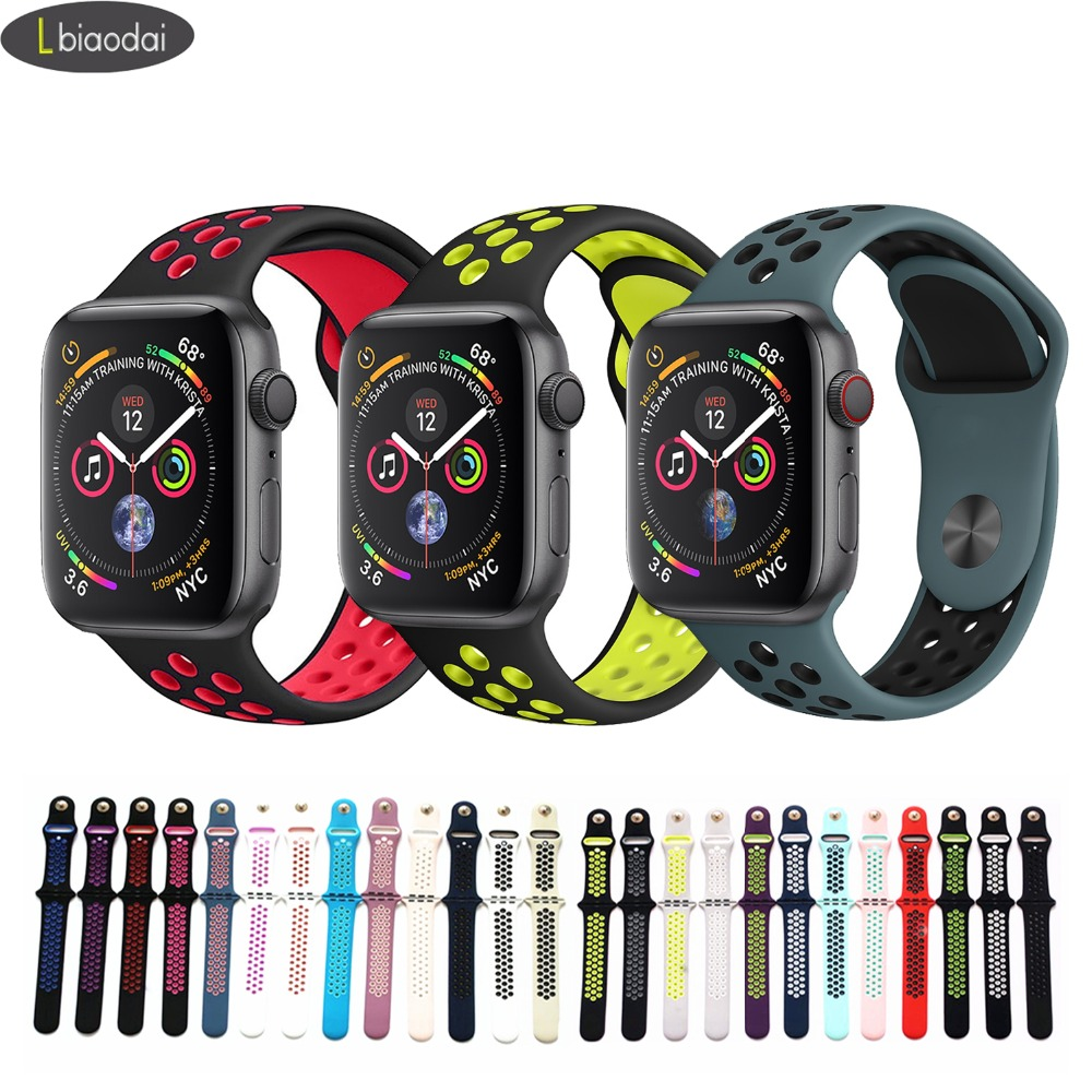 Sport Strap For Apple Watch Band 4 5 42mm/38mm Iwatch Band 44mm/40mm Strap Silicone Bracelet Breathable Watchband Series 5 4 3 2
