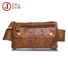 JOYIR Men Genuine Leather Waist Bag Solid Women Men Phone Bag Money Belt Waist Pouch Fanny Pack Men Belt Purse Man Bag 8136