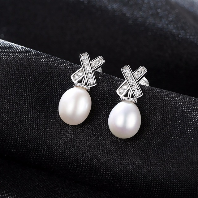 PAG&MAG Brand 8-9mm Rice Pearl S925 Sterling Silver Alphabet X Women Stud Earrings for Girls Fine Jewelry Factory Wholesale