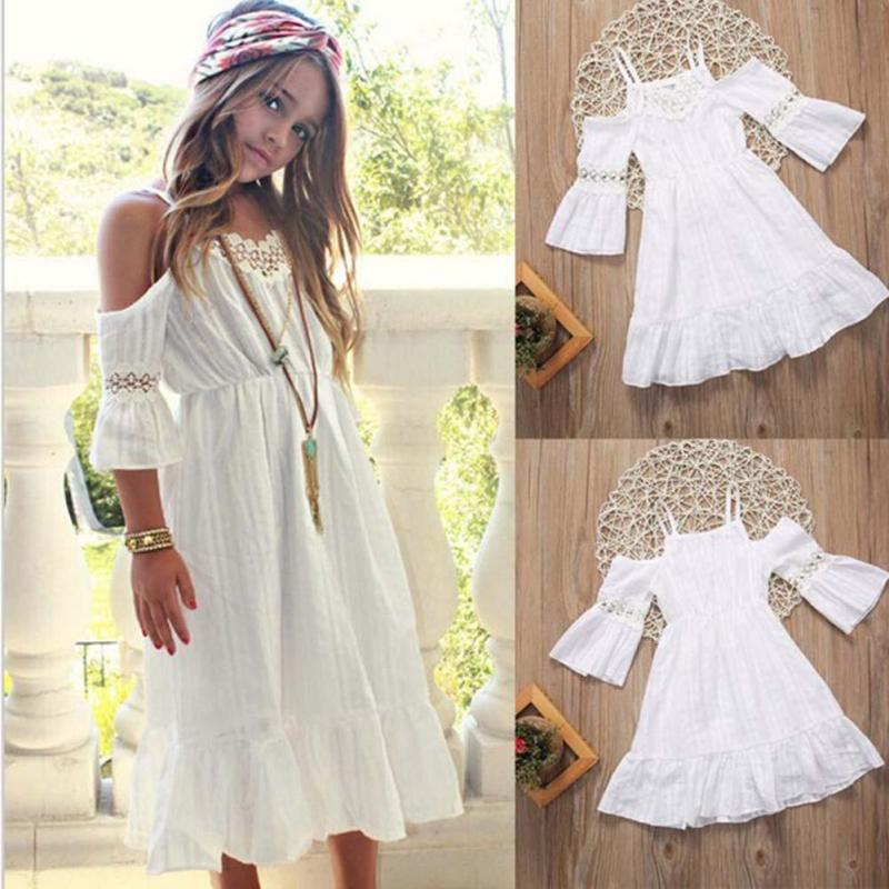 New Summer Girls Princess Dress Childrens photography props Cotton beach Dresses Baby Girls clothes Party Maxi dress R2-16H