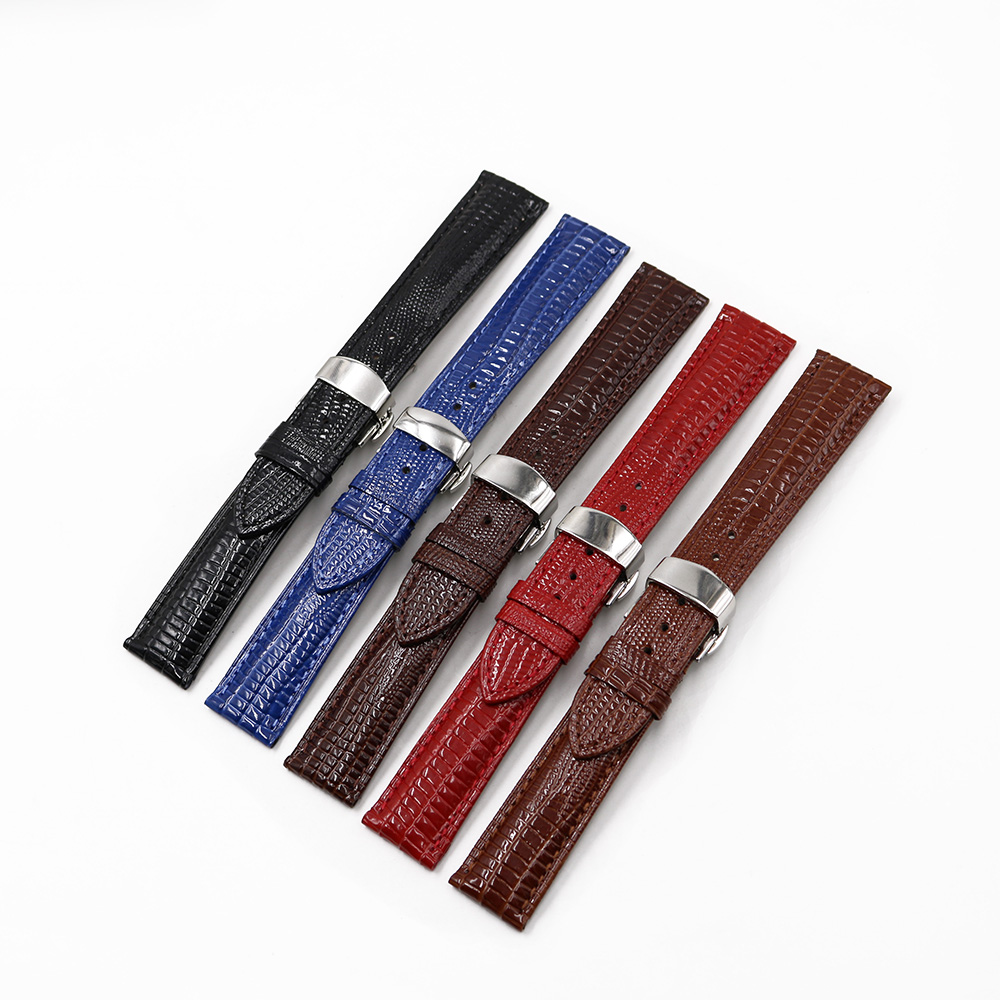 CARLYWET 18 20 22mm Leather Lizard Grain Replacement Wrist Watch Band Belt Strap With Silver Polished clasp For Seiko Tudor Tag in Watchbands from Watches