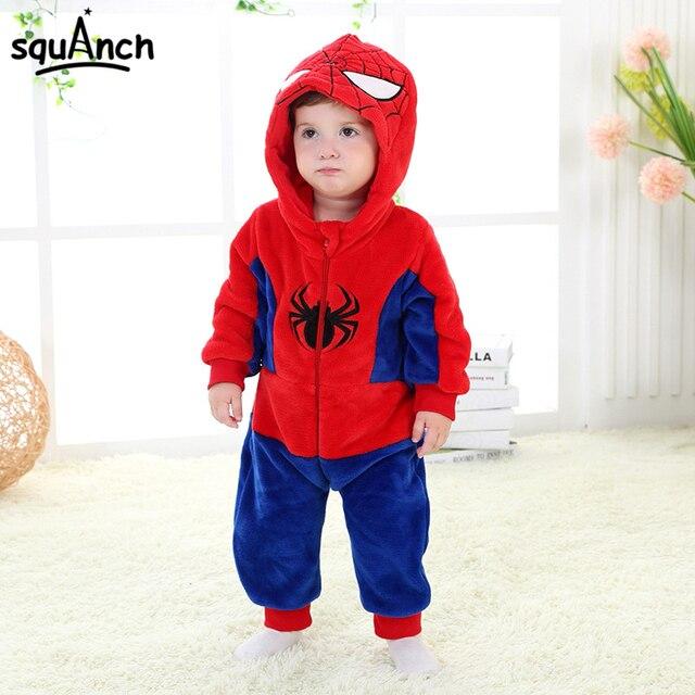 a83f8da8 Spiderman Kigurumi Onesie Baby Kids 1 to 3 Years Old Child Pajama Soft Warm  Sleepwear Cartoon