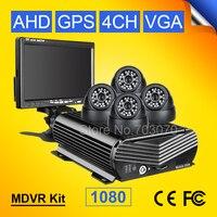 7 дюймовый vga монитор автомобиля + DC 12 В 24 В автомобильной HDD GPS Мобильный видеорегистратор с I/O сигнализации цикла Запись + 4 шт. 2.0mp Indoor Dom Carmera