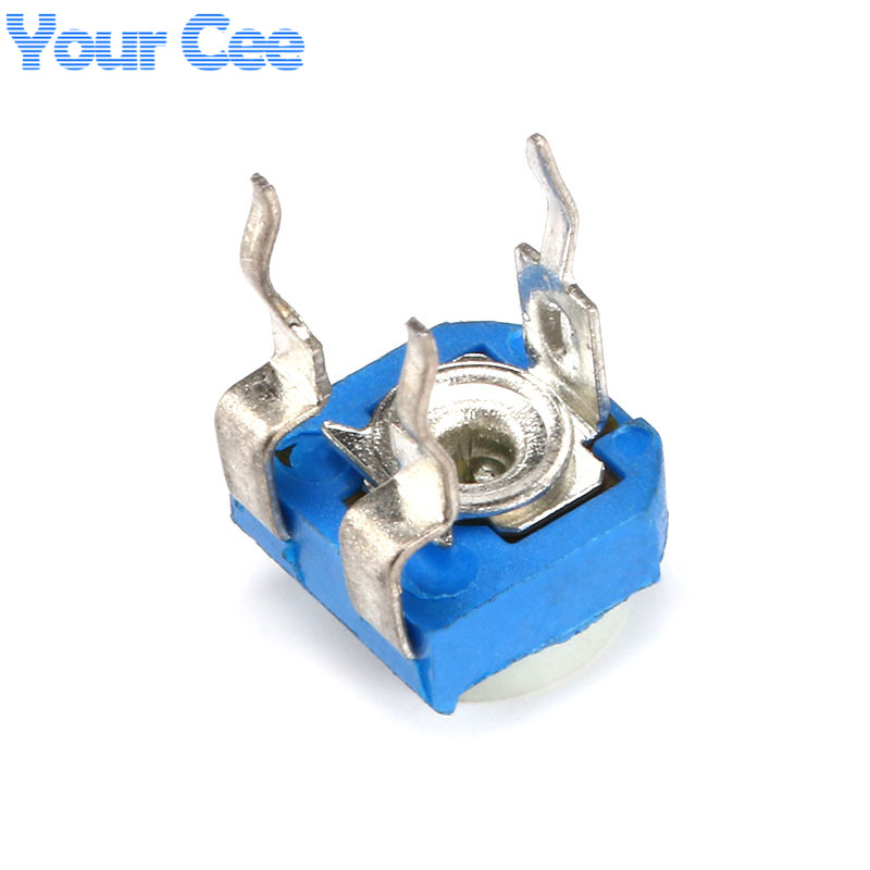 50Pcs Blue White Horizontal Variable Resistor Potentiometers 50K Ohm new