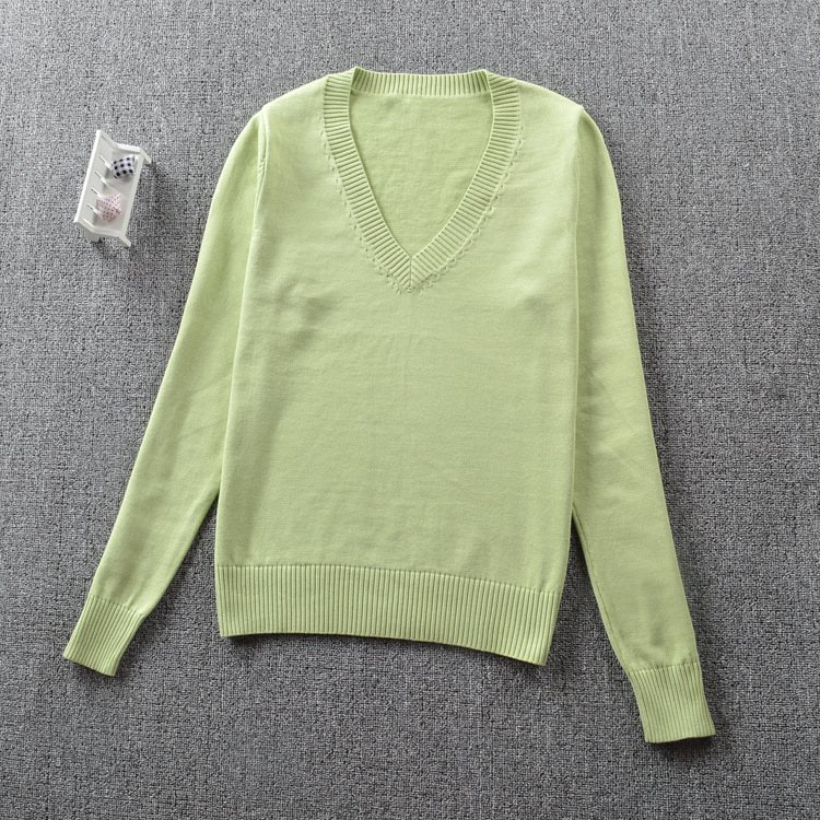 Japanese school student JK uniforms Girls cute students knitting V collar sweater cosplay fruit green color long-sleeve