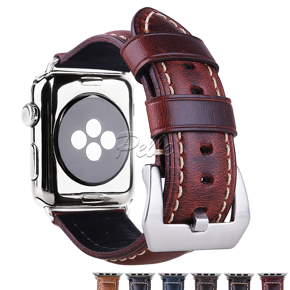 Pelle Watch Accessories Watchband For Apple Watch Bands 38mm 42mm S1 S2 S3 S4 Genuine Leather Replacement Watchband in Watchbands from Watches