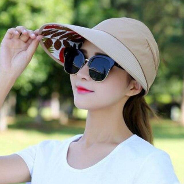 886c239da50 BONJEAN Women Sun Hat panama Summer beach caps Travel Anti-UV Folding  Outdoor Sunscreen foldable