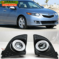 eeMrke For Acura TSX 2009-2014 COB Angel Eyes DRL Fog Lamp Lights Daytime Running Lights with H11 55W Halogen Bulbs
