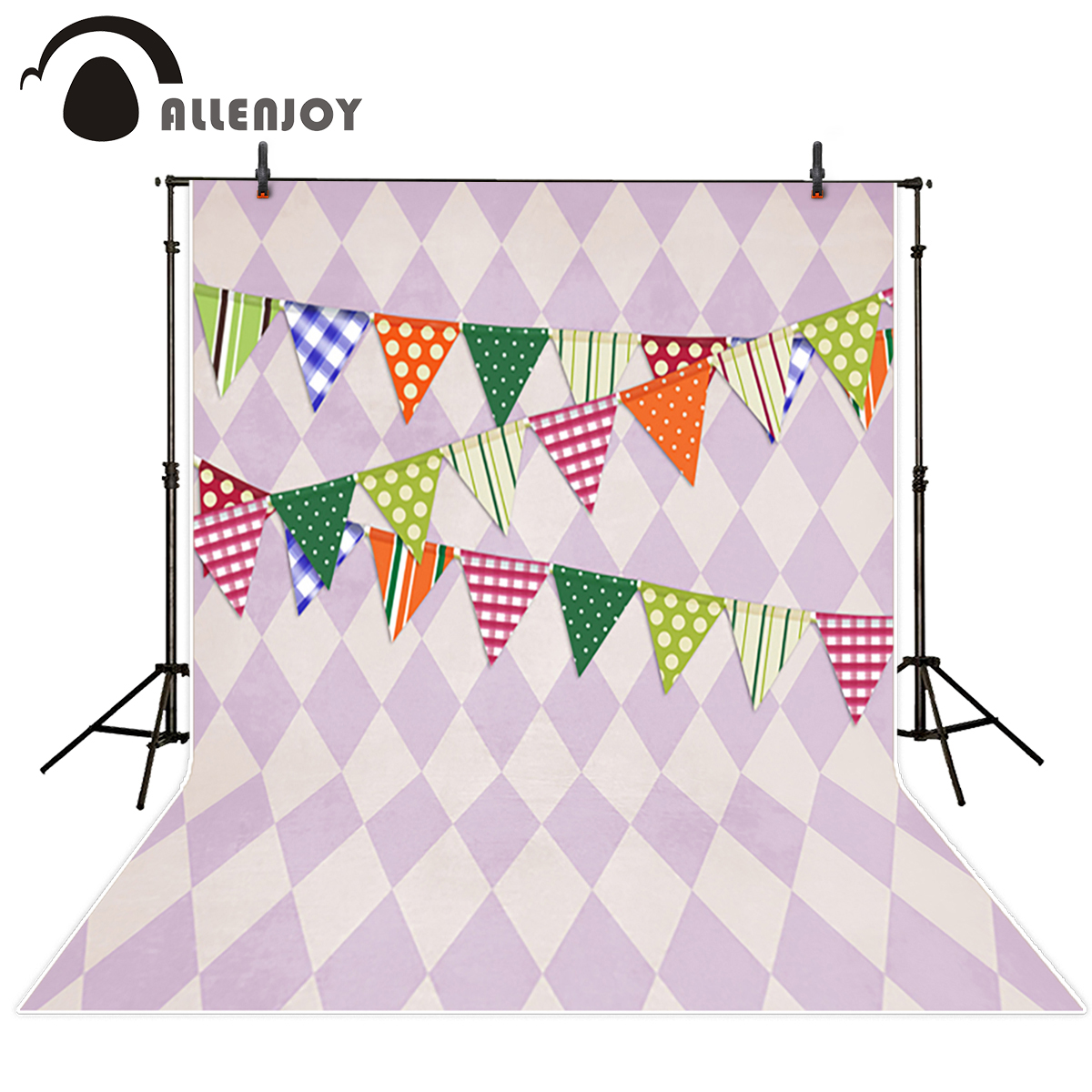 Allenjoy photography background colorful flags purple lattice kids customize for photo studio vinyl cloth photocall christmas background for photography wood flower green yellow rose colorful new born xmas customize photocall