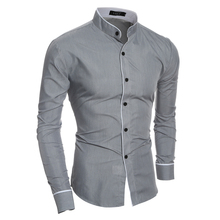 Men Shirt 2019 Summer New Fashion Stand Solid Color Social Business Dress Shirts casual Slim camisa masculina Long Sleeves Shirt