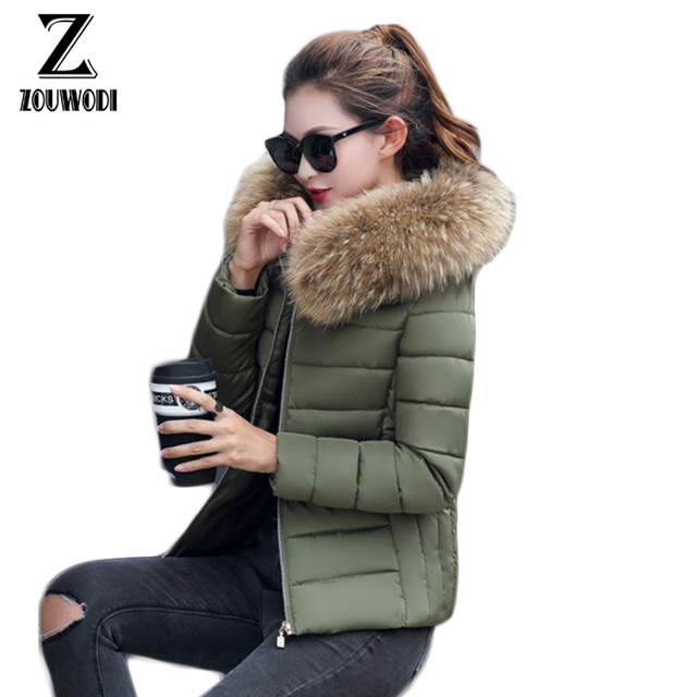 e4e49c17d4cbf Zouwodi Winter Jacket Women parka 2017 Warm Down Jacket Women black Thick  Artificial faux fake Fur Collar Women s Coat Jacket