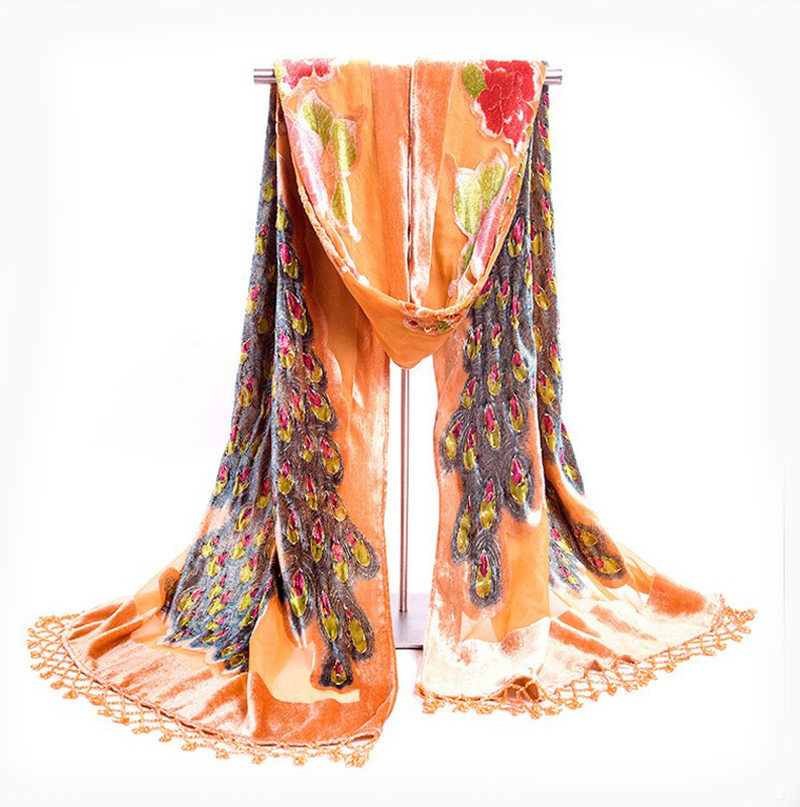 army green women velvet silk beaded shawls scarves chinese traditional handmade embroidery scarf wrap cachecol peacock np055in scarves from womenu0027s